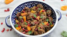 Easy recipe for lamb tagine with pomegranates, which can be made in the oven or slow cooker, convenient for busy families, and delicious