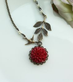 A Dark Red Chrysanthemum, Dahlia, Swallow Bird, Leaf, Pearls Necklace. Bridesmaid Necklace. Maid of Honor, Bridesmaid Gift Ideas. For Wife.. $26.50, via Etsy.