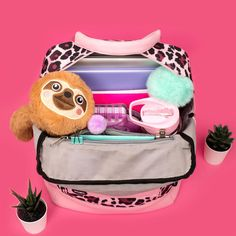 Leopard pink backpack 🎒😍 With our sloth 🦥 pencil case looks too good 😂 Sloth, Lunch Box, Pencil, Rainbow, Backpacks, Princess, Pink, Rain Bow, Rainbows