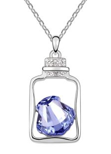 Chic Shiny Metal Flat Front Swarovski Crystal Necklace For Women
