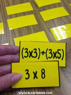 "Grade Math Centers - Reinforce multiplication properties with an ""expression concentration"" game. Could also do problem and answer. Fourth Grade Math, 3rd Grade Classroom, Math Classroom, Math Strategies, Math Resources, Math Activities, Math Multiplication, Multiplication Properties, Maths"