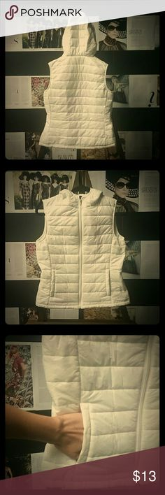 Pearly vest!!! Stay warm with hooded pearly veat...Brrr. White vest with hood and pockets. Michelle Jackets & Coats Vests