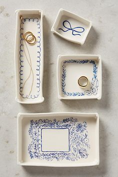 Emily Isabella Indigo Illustration Trinket Dish