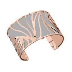 """Les Georgettes """"Perroquet"""" Large Bracelet in Rose Gold, with Light Grey/Light Pink Leather"""