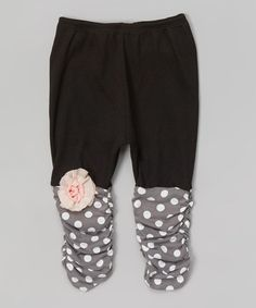 Loving this Black & Pearl Polka Dot Leggings - Infant & Toddler on #zulily! #zulilyfinds