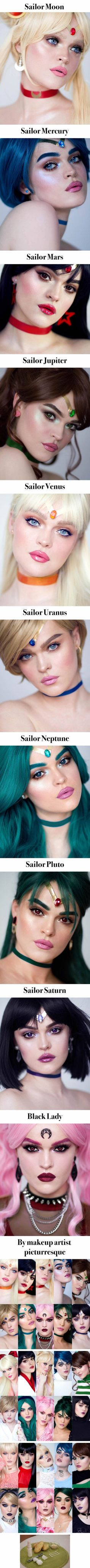 Makeup artist does up every single Sailor Senshi from Sailor Moon. Sailor Saturn is my fav - COSPLAY IS BAEEE!!! Tap the pin now to grab yourself some BAE Cosplay leggings and shirts! From super hero fitness leggings, super hero fitness shirts, and so much more that wil make you say YASSS!!!
