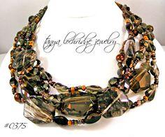 Smoky Quartz & Rutilated Quartz Gemstone 5-Strand Necklace