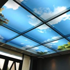 Sky Mural Ceiling Panels - wonder if these could go over the fluorescent panels in our office/dungeon?
