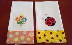 Flowers and ladybugs embroidered on towels. from Embroidery Library