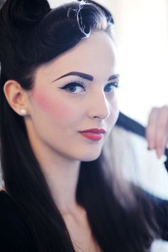 By Carrie Ann. Want to create the vintage pin up look? A strong brow and flushed lips and cheeks are key. @Bloom.COM