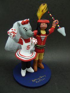 Custom made to order N.C. Wolfpack and Seminole college mascot wedding cake toppers. $235 www.magicmud.com 1 800 231 9814 magicmud@magicmud... blog.magicmud.com twitter.com/... $235 #mascot #collegemascot #hokie #ms.wuf #gators #virginiatech #football mascot #wedding #toppers #custom #Groom #bride #weddingcaketoppers #caketoppers www.facebook.com/... www.tumblr.com/... instagram.com/... magicmud.com/Wedding photos.htm