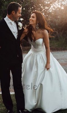 Gorgeous Ball Gown Sweetheart Ivory Strapless Satin Wedding Dress, Bridal Gowns by MrTang - Wedding Dresses Strapless Wedding Dresses Uk, Long Bridesmaid Dresses, Bridal Dresses, Prom Dresses, Sweetheart Wedding Dress, Gown Wedding, Wedding Band, Wedding Reception, Wedding Photography Poses