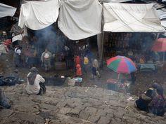 Masks at Church steps, burning Copal,  Chichicastenango
