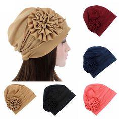 Women Fashion Big Flower Turban Hat Women Hair Accessories Chemo Hair Cap for Cancer Bonnet Headwear Turban