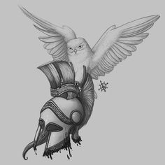 Athena Goddess With Helmet Tattoo Drawing photo - 5