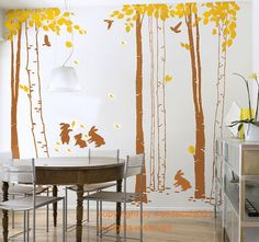 Vinyl Wall Decal,wall Sticker,tree decal, murals,wall decor,wall Art - In the forest-set of 7 trees with rabbits. $88.00, via Etsy.