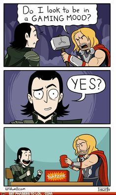 (Gif) thor Loki the avengers marvel do I look to be in a gaming mood Ms Marvel, Wanda Marvel, Marvel Funny, Marvel Memes, Marvel Comics, Avengers Memes, Loki Funny, Thor Jokes, Avengers Tumblr Funny