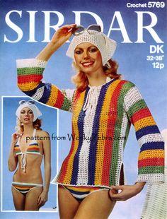 PDF Crochet Pattern For Ladies Retro Beach Wear - Bikini, Cover Up Overtop and Scarf Set Vintage Knitting, Vintage Crochet, Chic Filet, Original Vintage, Vintage 70s, Vintage Wool, Bikini Pattern, Looks Style, Hippie Chic
