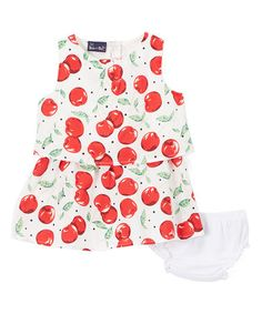 Loving this White & Red Cherries Tiered Dress & Bloomers - Infant on #zulily! #zulilyfinds