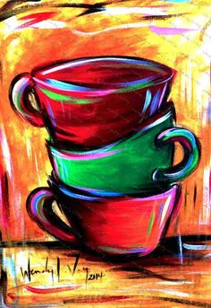 Interesting painting idea. Pretty deep colored stacked coffee cups with cool color highlights. Would be an awesome painting for your kitchen! Found on Sips n Strokes. Please also visit www.JustForYouPropheticArt.com for more colorful Art ideas. Pin as much as you want. Thanks for looking!