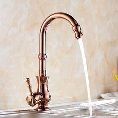 Antique Rose Gold Brass Single Handle Best Kitchen Faucet, $118.99