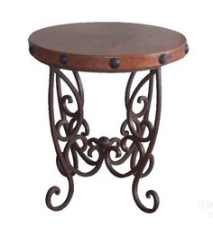Copper and Iron Occasional Table Western Cocktail and End Tables - Rustic style occasional table with thick square wrought iron scrolled base and hammered copper top with nail head accent.