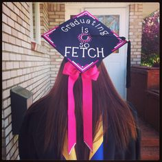 Graduation cap - pattern on the corners and rhinestones on the tails of the bow. I wouldn't do it, but I LOVE the mean girls quote!!!