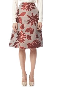 Taffeta A-line floral skirt with a high waist and back zipper closure.Not washable.   Floral Brocade Skirt by Marli Parmi. Clothing - Skirts - Knee Clothing - Skirts - A Line Eastern Shore, Baltimore, Maryland