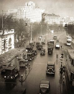 The Embankment from Hungerford Bridge, London, showing the 'Shell House' - 1 February 1937