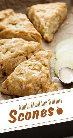 Do you love scones? Add a twist to your scone recipe! Anna Olson adds apple, cheddar and walnut to create the perfect scone for your breakfast. Breakfast Time, Breakfast Recipes, Dessert Recipes, Scone Recipes, Desserts, Breakfast Pastries, Bread Recipes, Apple Scones, Savory Scones