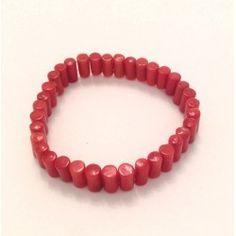 Bracciale rosso elastico in pietra dura corallo di bambù