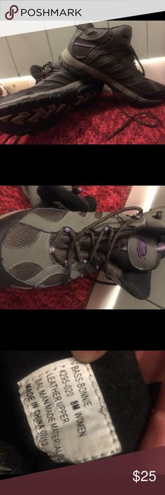 Hikering boots Gray & purple hiking boots Bass Shoes Athletic Shoes