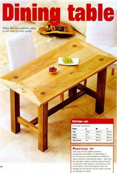 #1874 Dining Room Table Plans - Furniture Plans