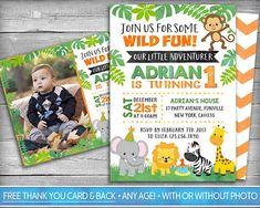 Safari Theme Birthday, First Birthday Party Themes, Safari Birthday Party, Boy First Birthday, Birthday Party Invitations, Zoo Party Themes, Safari Invitations, Wild Animals, Invite