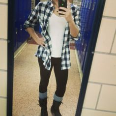 Flannel and tights with leg warmers and boots! Fall outfitt