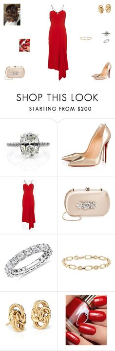 """Sem título #1377"" by crepusculo55 ❤ liked on Polyvore featuring Christian Louboutin, Roland Mouret, Badgley Mischka and Blue Nile"