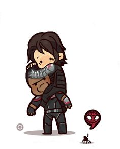 """thegirlinthebyakko: """"  @angiehaleang asked for Bucky being afraid of spiders :3 Spider-man's friends just want to say hi :) """""""