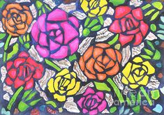 #Tiffany #Roses.  #Gouache on paper by Caroline Street.