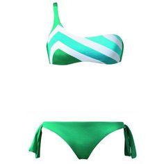 Collezione costumi Calzedonia Estate 2014 - Bikini verde Calzedonia con top monospalla