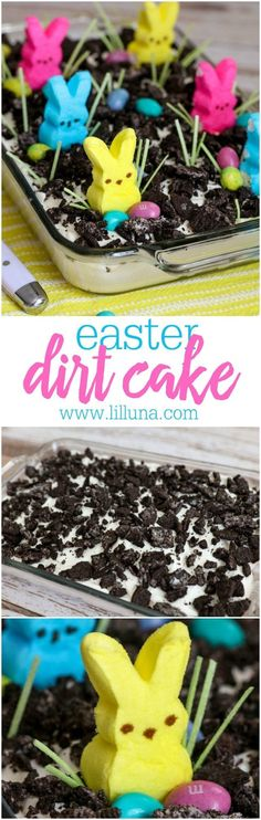 Easter Oreo Dirt Cake - a creamy and delicious Easter dessert filled with Oreos, pudding, cool whip, cream cheese, and powdered sugar that everyone will love to decorate and eat! #easteroreodirtcake #dirtcake #oreodirtcake #eastercake #oreocake