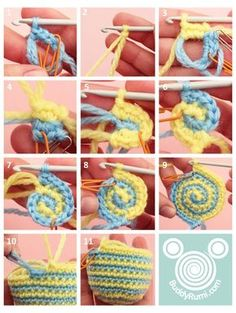 Tutorial: Amigurumi jogless stripes. Interesting method but works best with colour changes after one row.