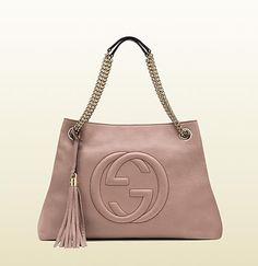 borsa shopping soho in pelle rosa chiaro con tracol ...