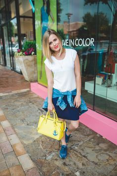 A Casual Weekend look: Dress + Kicks • Uptown with Elly Brown