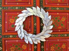 Medium Christmas Wreath, Holiday Wreath Decoration, Embossed Metal Leaves, Silver Decor