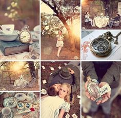 Nice Photoshoot    http://www.bridefinds.com/2011/shoot-wonderland-themed-engagement-photos-with-teacups-skeleton-keys-more-etsy-finds/