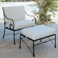 Vintage Wrought Iron Lounge Chairs With Cushions Seat