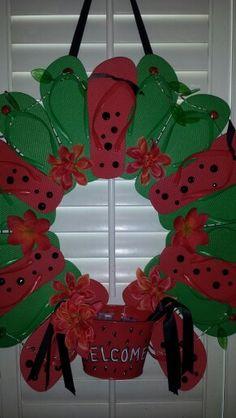 My homemade watermelon flip flop wreath