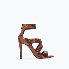 Image 1 of HIGH HEELED PRINTED LEATHER SANDAL from Zara