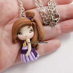 fimo/polymer clay/cernit/ pasta doll, gift, present, handmade accesories Polymer Clay Disney, Cute Polymer Clay, Cute Clay, Polymer Clay Dolls, Polymer Clay Miniatures, Polymer Clay Pendant, Polymer Clay Projects, Polymer Clay Charms, Polymer Clay Creations