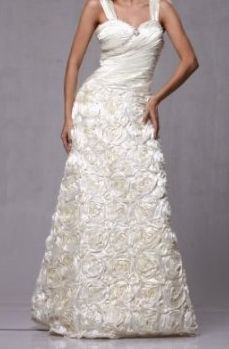 Beautiful Satin Rosettes Formal Wedding Gown Dress ONLY $59 !